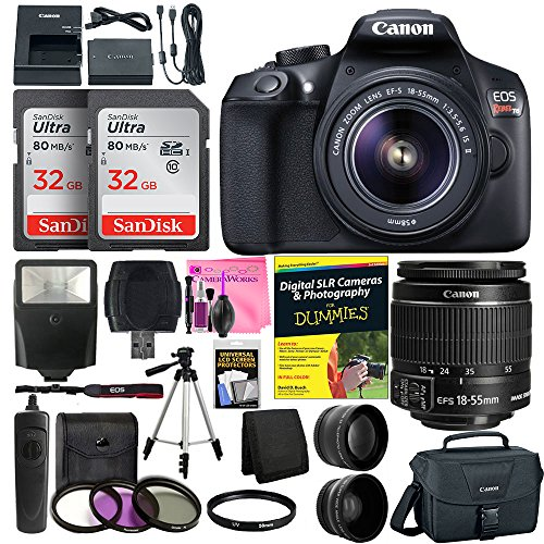 Canon EOS Rebel T6 Digital SLR Camera with 18-55mm EF-S f/3.5-5.6 IS II Lens + 58mm Wide Angle & 2x Telephoto Lenses + Flash + 64GB Memory + UV Filter Kit + Tripod + Full Camera Works Accessory Bundle