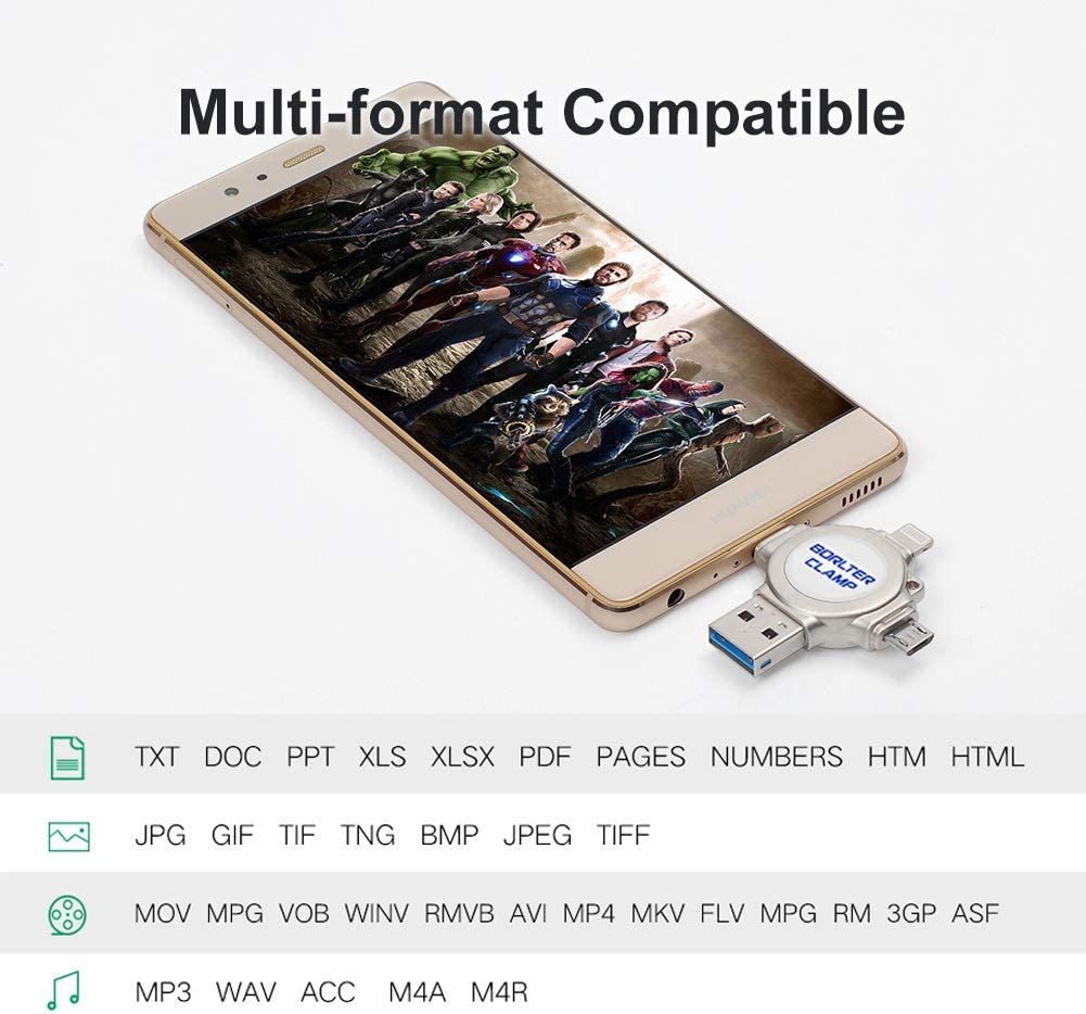 32GB 4 in 1 USB Flash Drive BorlterClamp USB 3.0 OTG Thumb Drive Memory Stick for iOS iPhone Android Smartphones Tablets /& Computer