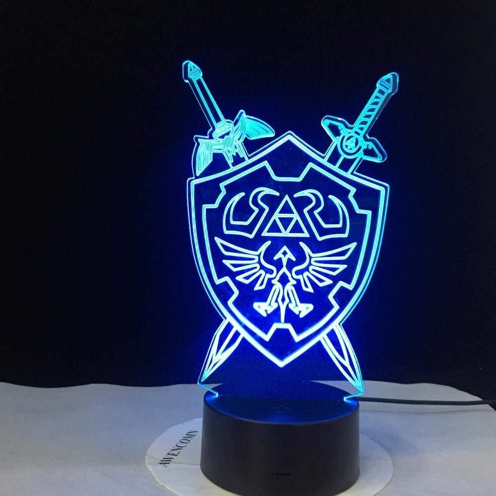 Lampada 3D La leggenda di Zelda Lampada da notte per bambini Led luminaria da comodino Lampada da tavolo per regali di festa per bambini colorata Luce notturna RGB