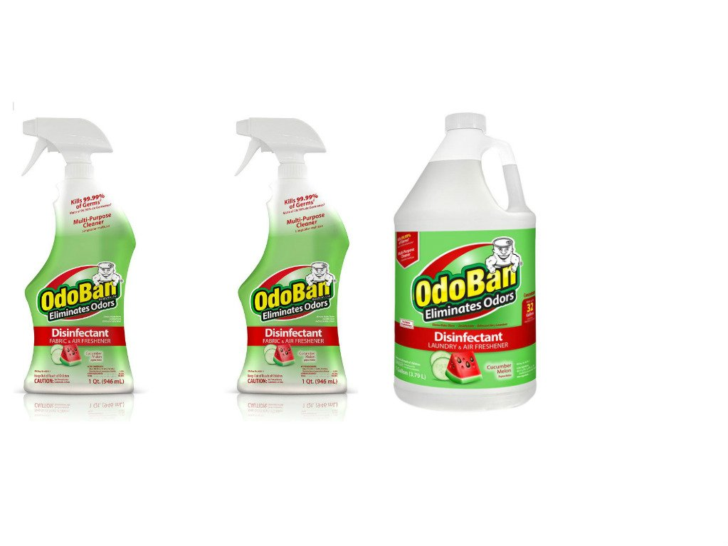 OdoBan Ready-to-Use 32oz Spray Bottle 2-Pack and 1 Gal Concentrate, Cucumber Melon Scent