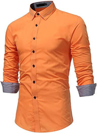 Burfly Camisa De Manga Delgada De Solapa para Hombre Larga Ropa Festiva Top para Hombre Otoño Casual Formal Sólido Slim Fit Camisa De Vestir De Manga Larga Top Blusa: Amazon.es: Ropa y