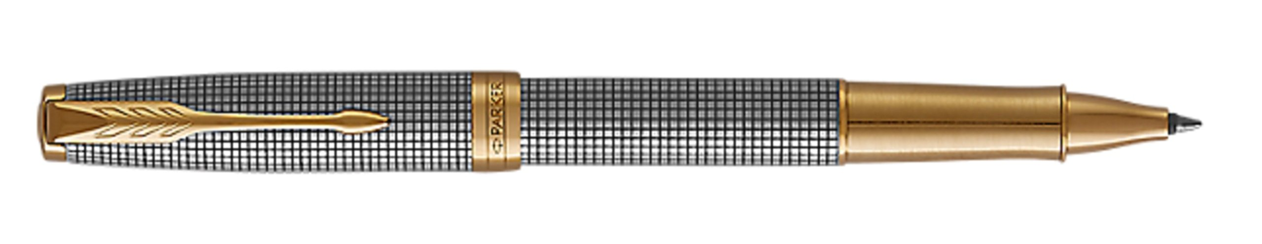PARKER Sonnet Rollerball Pen, Prestige Chiselled Silver with Gold Trim, Fine Point Black Ink by Parker (Image #7)