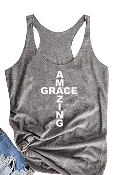 83e1baccc Casual Amazing Grace Tees for Women Shirts T Shirt Ladies Sleeveless T-Shirt  Loose Comfort Workout Tank Tops at Amazon Women's Clothing store:
