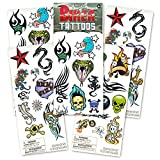Biker Temporary Tattoos featuring iconic biker artwork. Party Favor and Costume Pack - 35 Tattoos. Featuring classic biker tattoo designs including skulls, dragons, barbed wire and intricate designs. Biker tattoo pack contains 35 temporary ta...