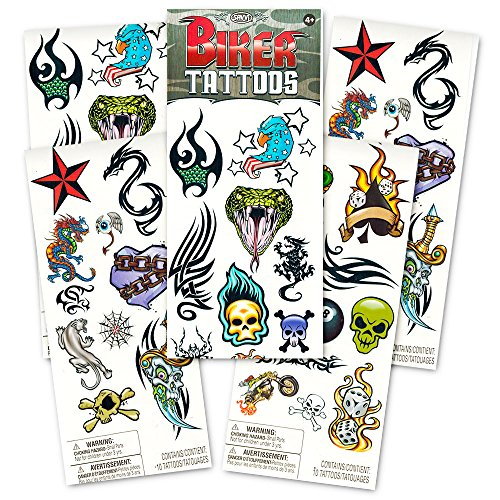 Savvi Biker Tattoos Party Favor Costume Set (35 Biker Temporary Tattoos