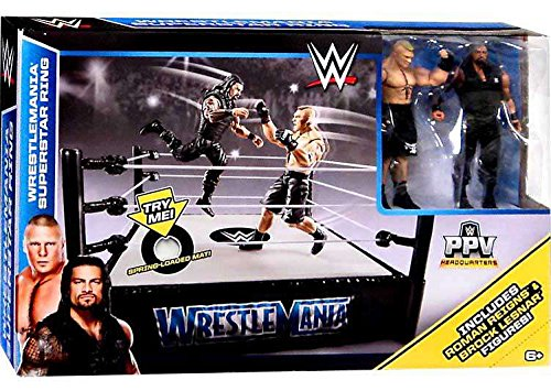 WWE Wrestlemania 31 Superstar Ring Playset With Roman Reigns and Brock Lesnar Action Figures by Mattel