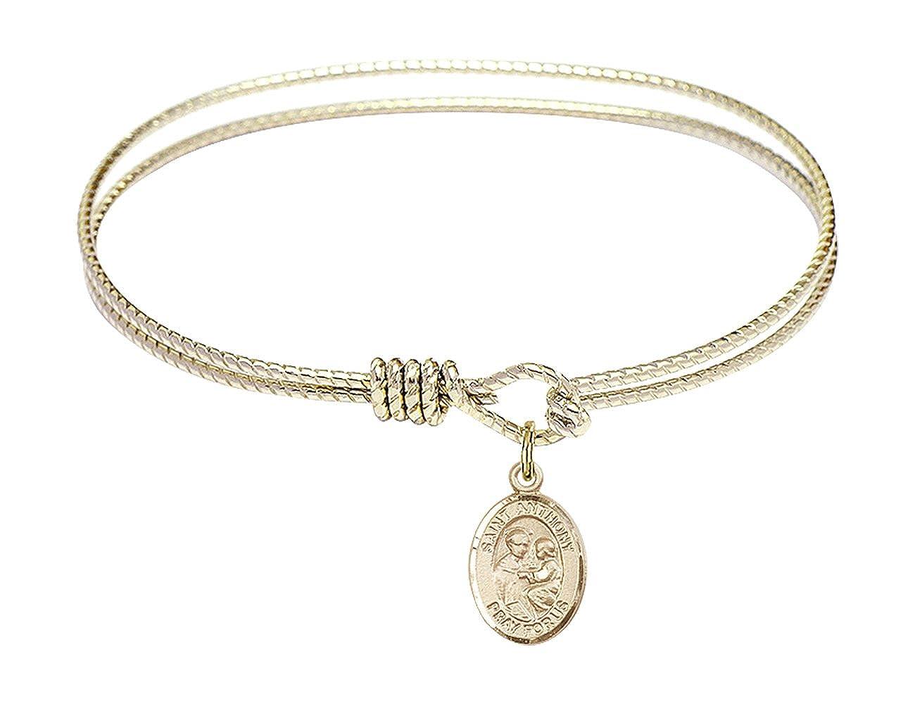 6 1/4 inch Oval Eye Hook Bangle Bracelet w/ St. Anthony of Padua medal charm Bonyak Jewelry B4205RG-9004GF
