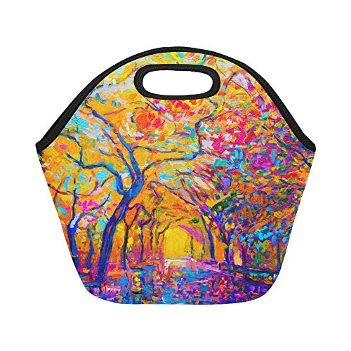 - Interestprint Insulated Lunch Tote Bag Oil Painting Autumn Forest Reusable Neoprene Cooler, Fall Tree Portable Lunchbox Handbag for Men Women Adult