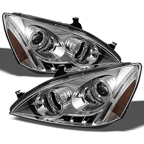 (For Honda Accord Chrome Clear Dual Halo Ring DRL LED Projector Headlights Front Lamps Replacement Pair)