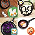 4 pack, SKULL, OWL, RABBIT and the GUY Shaped Silicone Fried Egg Ring Mold Art Breakfast (Ships From USA)