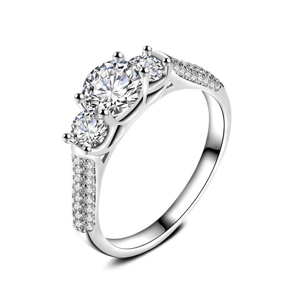 Keepfit Women's Fashion Jewelry Silver White Zircon Wedding Ring Size 6-10 (Silver, 9)