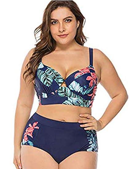 FeelinGirl Bikini Tankini Bademode Badeanzug Monokini Retro Groß Größe Bikini Sets Plus Size Bandeau High Waist Bikini Damen