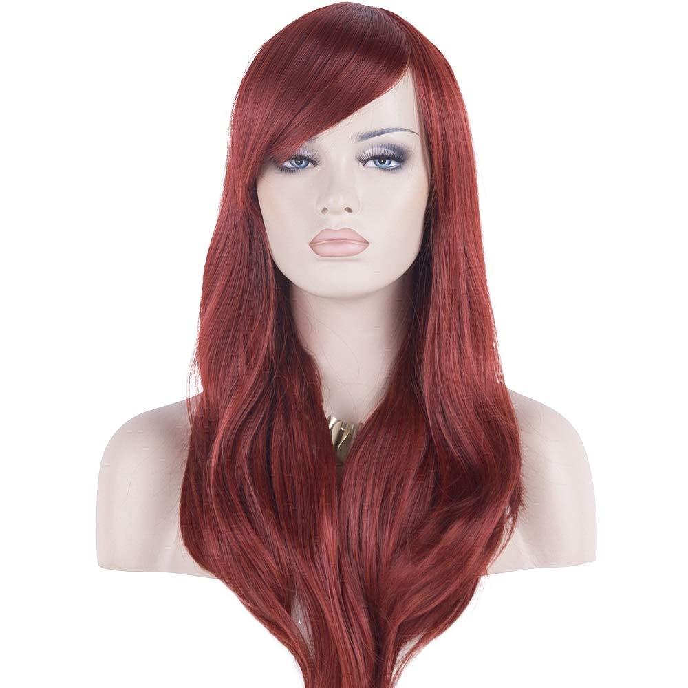 DAOTS 28'' Wig Long Heat Resistant Big Wavy Hair Women Cosplay Wig (Wine Red) by DAOTS