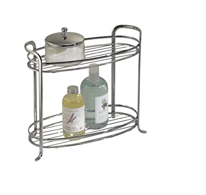 MDesign Free Standing Bathroom Storage Shelves For Towels, Soap, Candles,  Tissues, Lotion