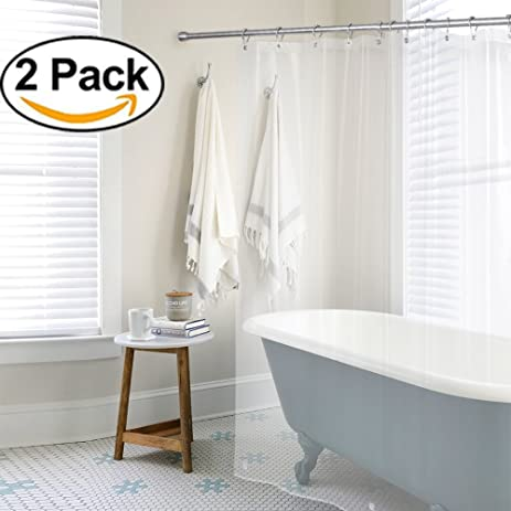 AMAZER PEVA 4G Shower Curtain Liner Pack Of 2 With Rustproof Grommets Weighted Bottoms