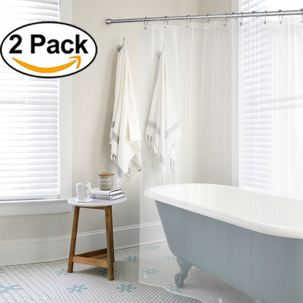 AMAZER PEVA 4G Shower Curtain Liner (Pack of 2) with 12 Rustproof ...
