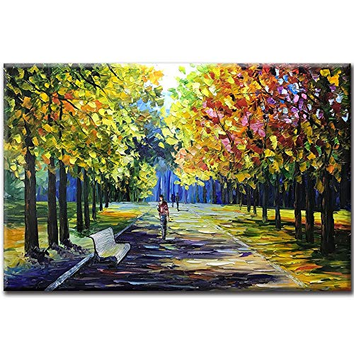 Asdam Art Canvas Painting,24x36 Inch Hand Painted Oil Paintings Modern Abstract Landscape Artwork Romantic Street Canvas Painting Colorful Wall Art Modern Home Decorations Wall Décor Stretched Frame R