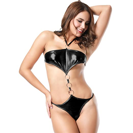 026cd0774cd IBTOM CASTLE Women s Sling Shot High Cut Babydoll One Piece Brazilian Bikini  Monokini Swimsuit Halter Bodysuit