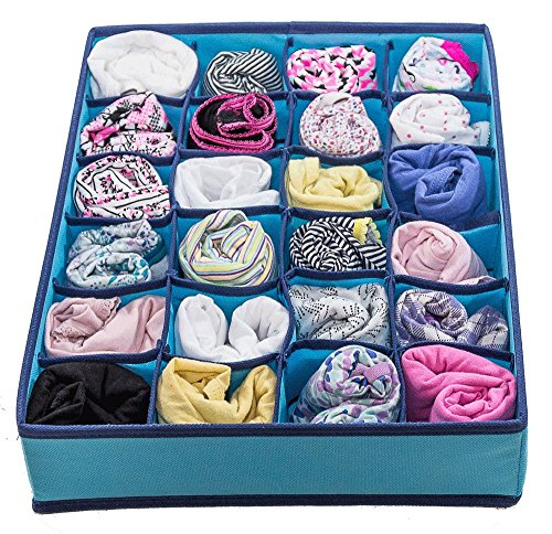 Best Underwear Organizer for College Dorm, Aqua Blue Dresser Organizer for Girls Bras up to Size 42D, Four Collapsible Boxes, Great for Organizing Socks, Lingerie by Mirella's House (Image #3)