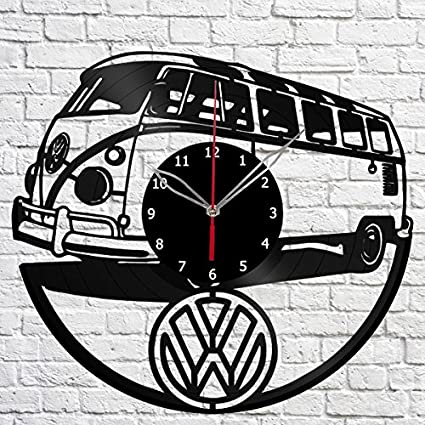 """Handmade"" VW Camper Van Vinyl Record Wall Clock Fan Art Decor Original Gift"