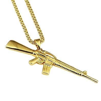 Amazon aiyo nice hip hop 18k gold plated m4 submachine gold gun aiyo nice hip hop 18k gold plated m4 submachine gold gun pendant link chain necklace jewelry aloadofball Gallery
