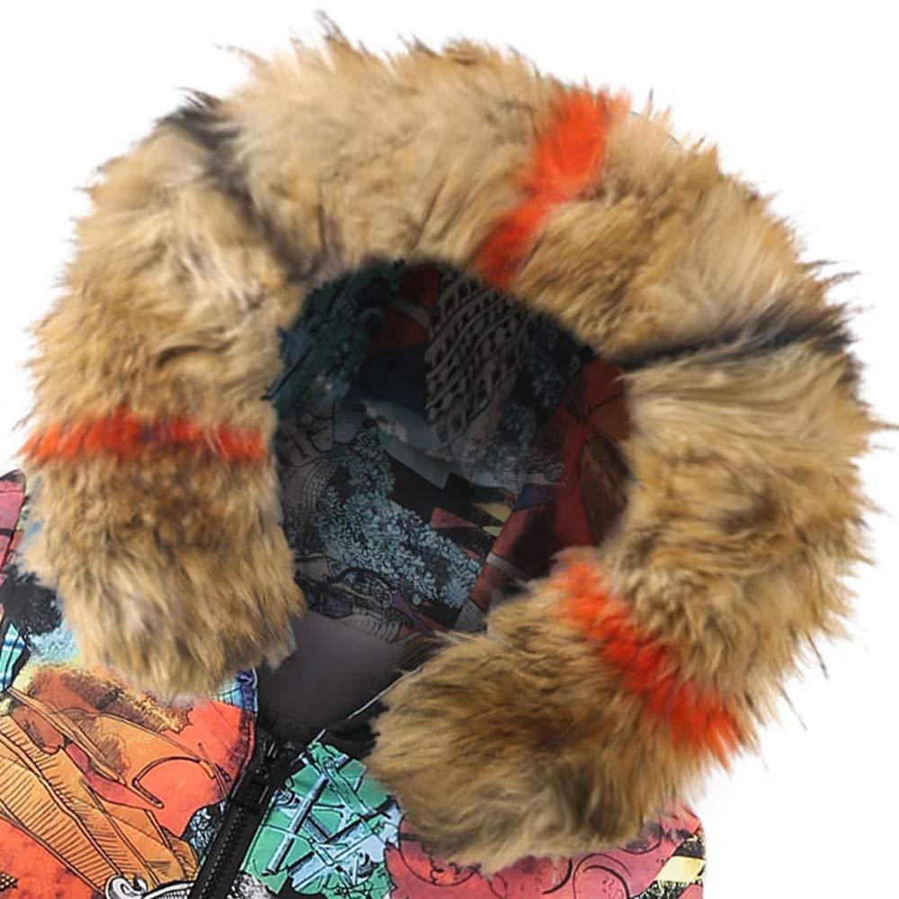Amazon.com: YOMXL Women Winter Long Down Fashion Fur Trim Hood Puffer Coat Winter Warm Graffiti Printed Zip-Off Parka Hooded Jacket Outwear: Home & Kitchen