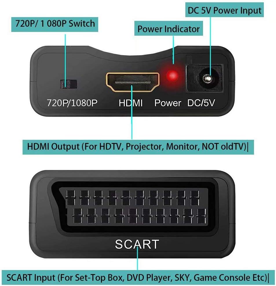 Snxiwth Convertidor de Euroconector Scart a HDMI de Euroconector HD Adaptador Vídeo Audio con Cable de Alimentación USB para Sky HD BLU Ray DVD Apple TV PS3 El Reverso no es Compatible: