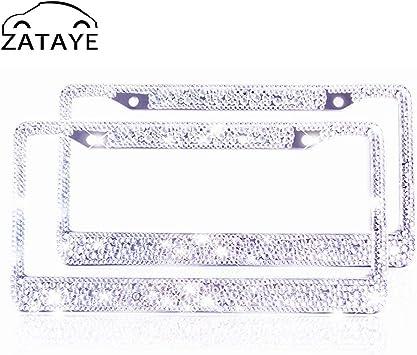 Runone Rhinestone License Plate Frame Bling Car Accessories For Women,Funny Cute