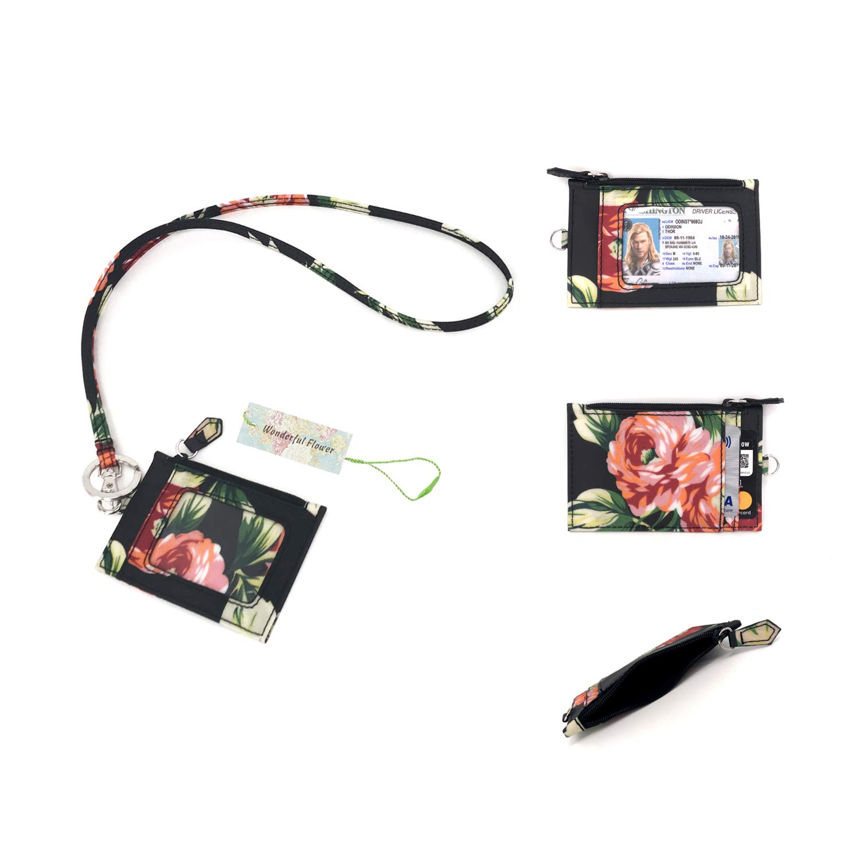 Wonderful Flower Id Case and Lanyard (014 Zip ID Black)
