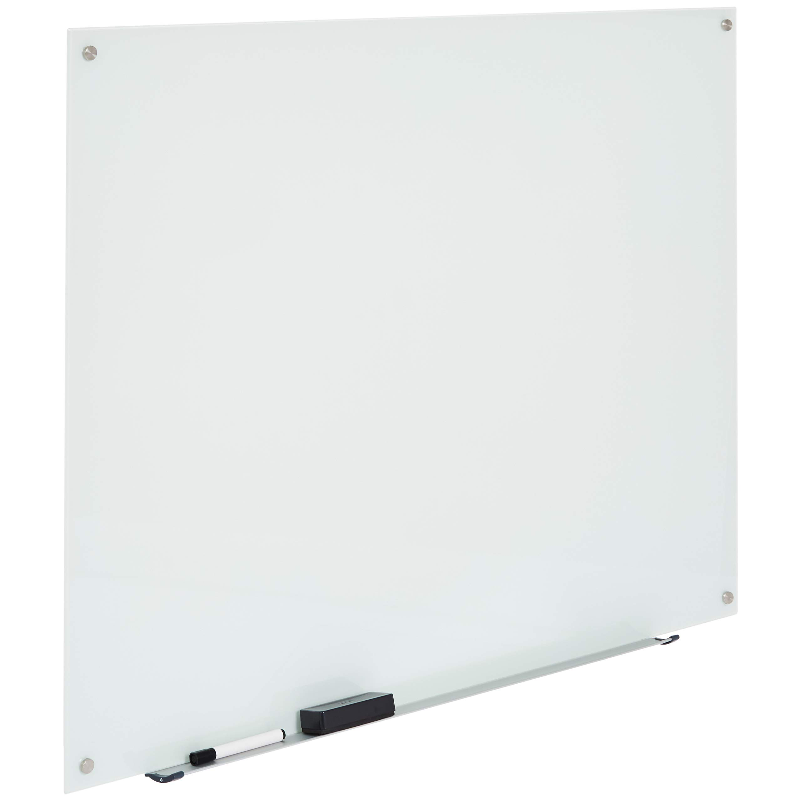 AmazonBasics Glass Dry-Erase Board - White, Magnetic, 4 Feet x 3 Feet