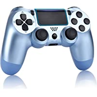 Wireless Controller for P-4 - YU33 Remote, Joystick,Gamepad for DS-4 with Charging Cable and Double Shock. Titanium Blue