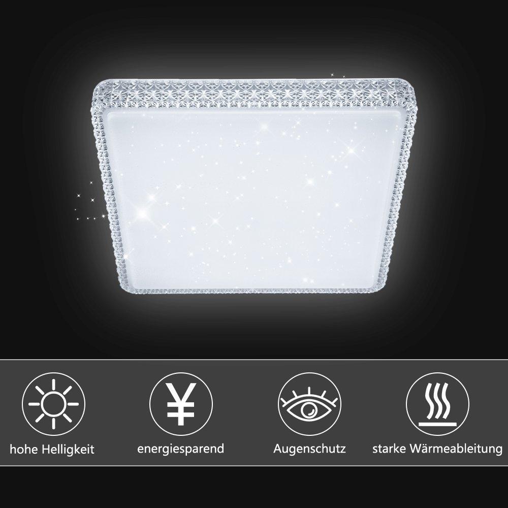 VINGO® 60W Deckenleuchte Starlight Effekt Kristall Kaltweiß LED Korridor Eckig Deckenbeleuchtung Schönes Badlampe