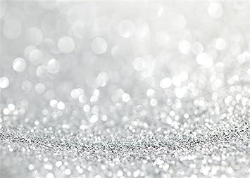 Leowefowa 7X5FT Wedding Backdrop Silver Bokeh Halos Sparkle Sequins Abstract Romantic Wallpaper Vinyl Photography Background Kids