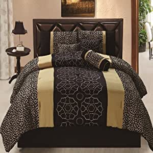 7pcs black gold gray leopard embroidered bed in a bag comforter set king size home. Black Bedroom Furniture Sets. Home Design Ideas