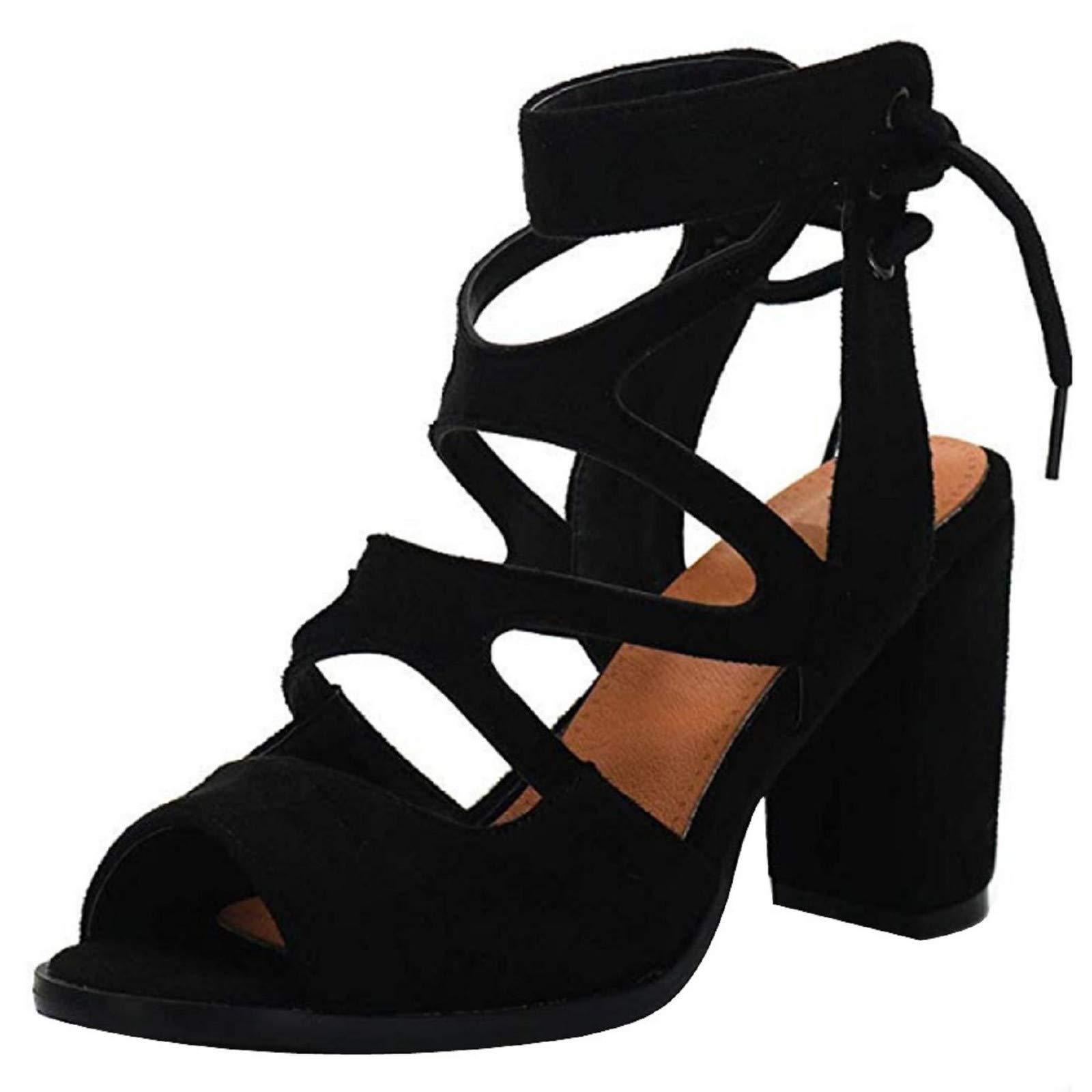 Women Chunky Heel Strappy Sandals Peep Toe Lace up Gladiator Sandals Ankel Strap Block Heel Black