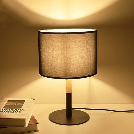 Lcxghs Lámparas de Mesa de Madera Negras - Lámpara de ...