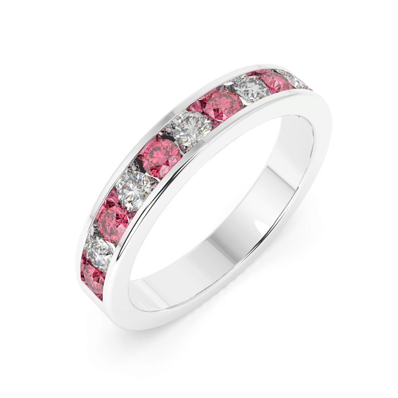 3.5 mm 0,75 carats Rubis et diamants Bague en or blanc