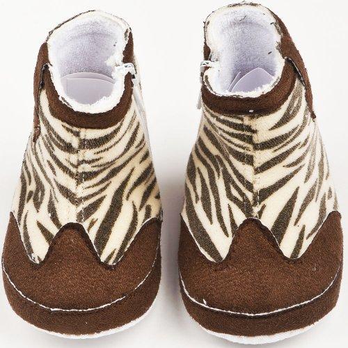 Botas en ante bebé niña estampado de cebra, color marrón, talla 15/17(3/6mois)