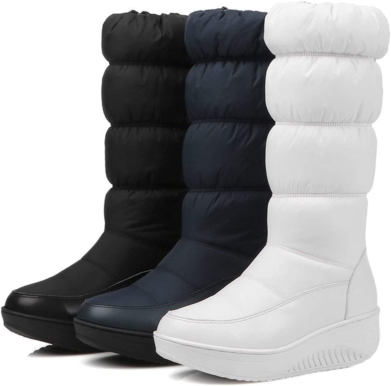 Im good at you Winter Snow Boots Platform Shoes Footwear mid Calf Women Boots Solid Color Zipper