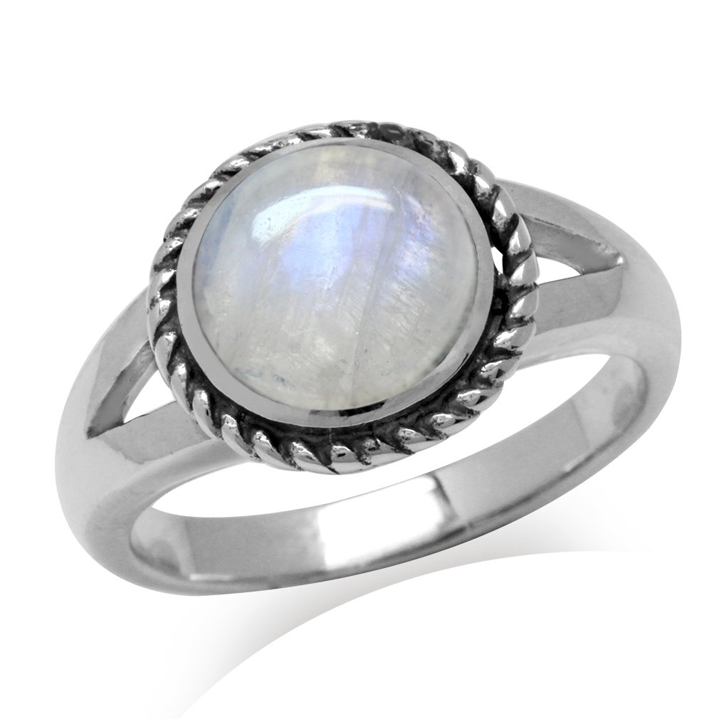 Natural Moonstone Antique Finish 925 Sterling Silver Rope Solitaire Ring Size 11