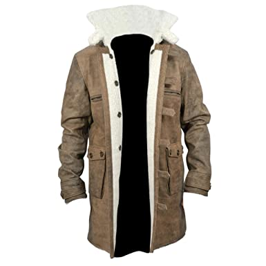 JUST FASHION @ Mens Fashion Bane Abrigo con Piel de Oveja Cuero Envejecido Desgastado Marrón (