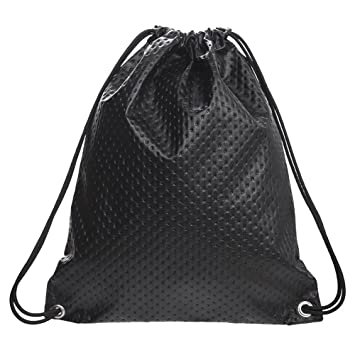 ... Waterproof Drawstring Backpack Bag PU Leather Women Sport Gym Sack  Cinch Bags (Black) competitive ... 8c2d25f2bc1d1