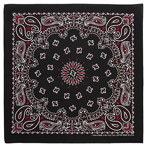 100% Cotton Western Paisley Bandanas (22 inch x 22 inch) Made in USA - Red and White on Black Single Piece - Use For Handkerchief, Headband, Cowboy Party, Wristband, Head Scarf - Double Sided Print