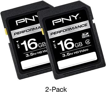 PNY 16GB 2-Pack Performance Class 4 SD Card – (P-SDHC16G4X2-GE)