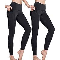 TSLA High-Waist/Mid-Waist Yoga Pants with Pockets, Tummy Control Yoga Leggings, Non See-Through 4 Way Stretch Workout…