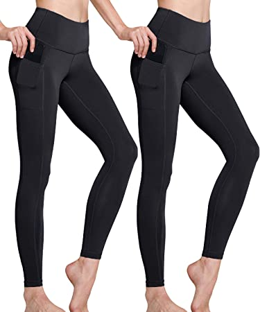 TSLA Yoga Pants Mid-Waist/High-Waist Tummy Control w Side/Hidden Pocket Series