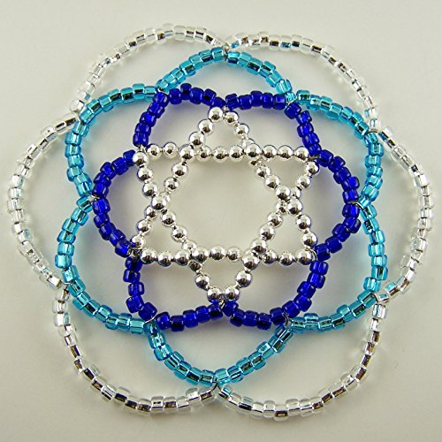 Women's Beaded Kippah/yarmulke, Silver Star of David with Cobalt, Aqua & Clear Glass Beads (Beads Glass Twist)
