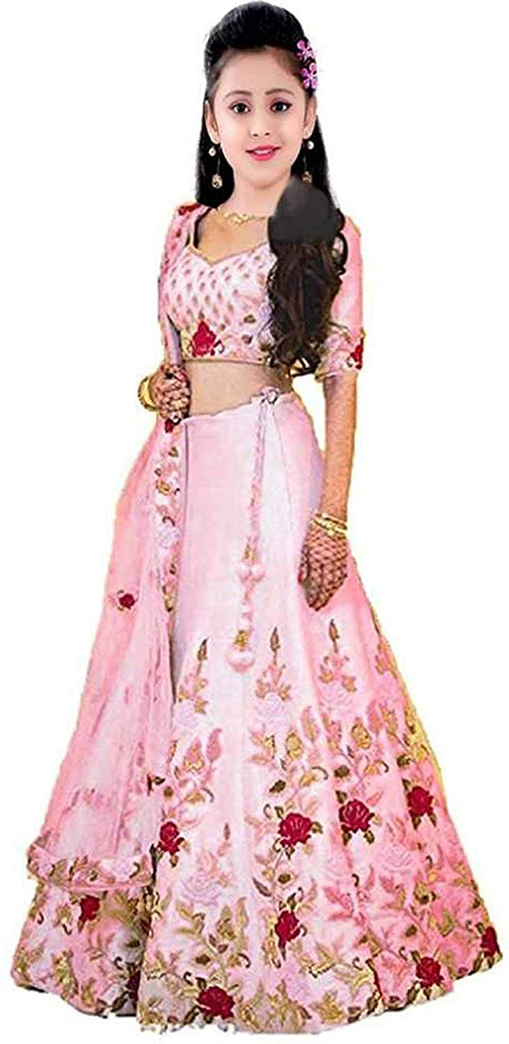 Buy F Plus Fashion Girl S Banglory Satin Embroidered Semi Stitched Lehenga Choli Baby Pink 8 13 Years At Amazon In