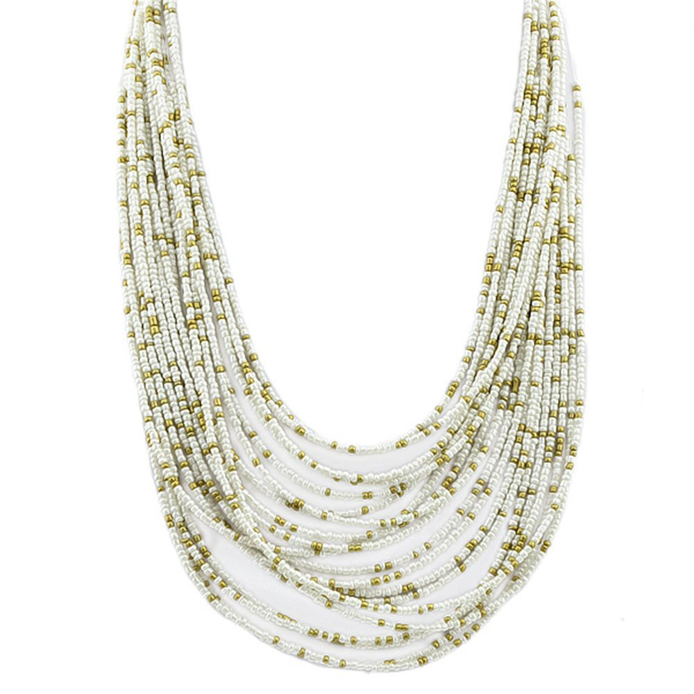 Feelontop® Fashion Beach Style Multilayers Colorful Long Beads Chain Necklace NC-6795