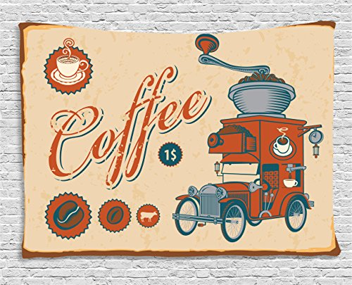 [Ambesonne 1960s Decor Collection, Artsy Commercial Design of Vintage Truck with Coffee Grinder in Old-fashioned Color, Bedroom Living Room Dorm Wall Hanging Tapestry, 60 X 40 Inches, Cream Orange Grey] (60s Fashion Mens)